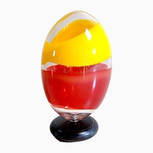 Skulptur Ei in schwerem Glas Polychrom