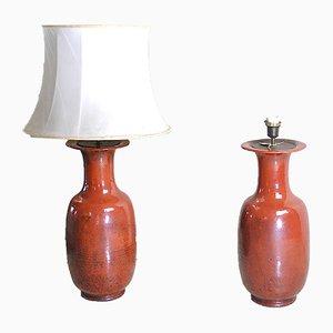 Glazed Ceramic Table Lamps, 1960s, Set of 2