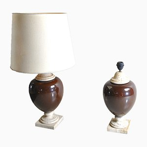 Glazed Ceramic and Travertine Table Lamps, 1960s, Set of 2