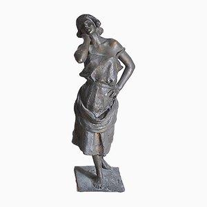 Sculpture Féminine En Bronze, Ecole Napolitaine La Paesana