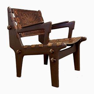 Armlehnstuhl aus Holz & Leder von Angel I. Pazmino, 1960er