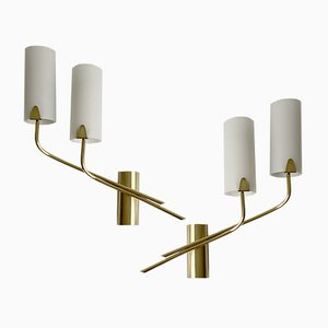 Mid-Century French Opaline Glass & Brass Sconces from Lunel, 1960s, Set of 2