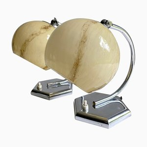 Art Deco Lamps in Chrome & Marble Opaline Glass Shades, 1930s, Set of 2