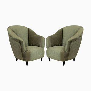 Wood and Velvet Club Chairs by Guglielmo Ulrich, 1950s, Set of 2