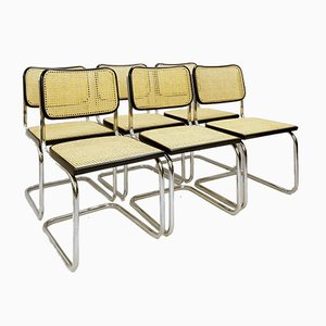 Cane & Chrome Dining Chairs, 1970s, Set of 6