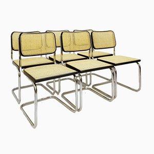 Sedie da pranzo in canna e metallo cromato, anni '70, set di 6
