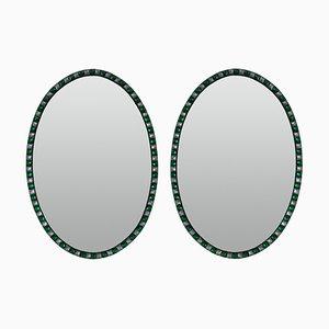 Specchi irlandesi in stile georgiano con bordi tempestati di smeraldi, anni '70, set di 2