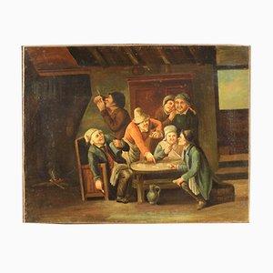Peinture Flamande Scène Intérieure De Joueurs De Cartes, XVIIIe Siècle, Huile Sur Toile