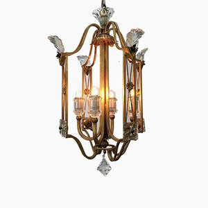 Vintage Lantern in Gilded Iron and Crystals