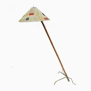Mid-Century Bamboo Brass Vintage Floor Lamp by Rupert Nikoll