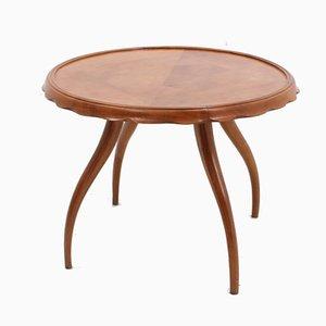 Tavolino da caffè rotondo in noce di Osvaldo Borsani, anni '40