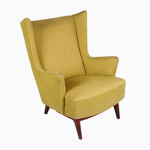 Danish Armchair In Moss Green With Rosewood Base