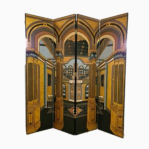 Engraved and Lacquered Wood Room Divider from La Maison Fournier Decoration, 1980s