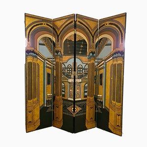 Separador de ambientes de madera grabada y lacada de La Maison Fournier Decoration, años 80