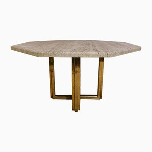 Golden Brass, Chrome and Travertine Dining Table, 1970s