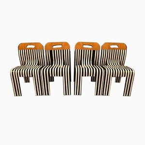 B & W Strip Dining Chairs by Markus Friedrich Staab, Set of 4