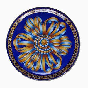 Piatto in porcellana con nastri in seta di Hermès, anni '80