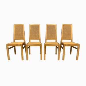 Cane Dining Chairs, 1980s, Set of 4