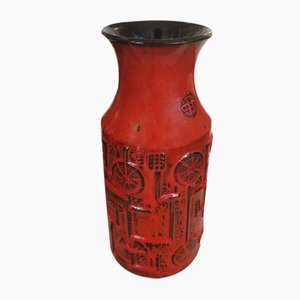 Red Vase by Bodo Mans for Bay Keramik, 1960s