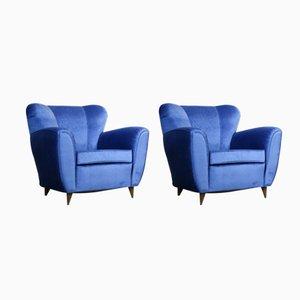 Butacas italianas vintage azules, años 60. Juego de 2
