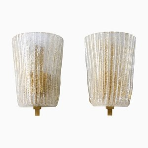 Italian Murano Glass and Brass Sconces, 1990s, Set of 2