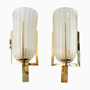 Italienische Murano Glas und Messing Wandlampen, 1990er, 2er Set