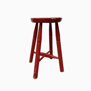 Sgabello vintage rosso in legno