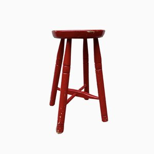 Vintage Wooden Red Stool
