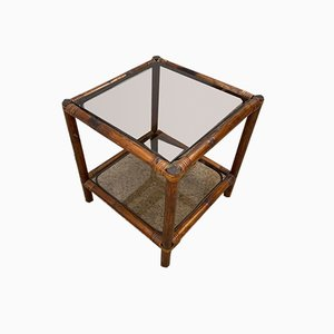 Rattan Coffee Table with Glass Shelves, 1970s