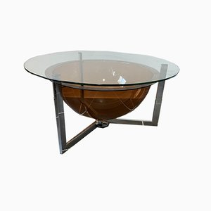 Low Round Glass and Plexiglass Coffee Table with Chrome Base, 1970s