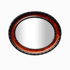 Miroir mural ovale vintage avec bord biseauté