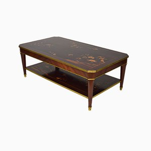 Neoclassical Coffee Table in Inlaid Mahogany, France, 1970s