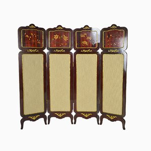 Neo-Classic 4-Panel Folding Screen in Inlaid Mahogany, France, 1970s