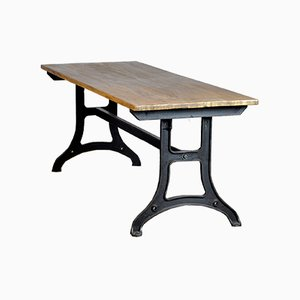 Industrial Table With Cast Iron Base