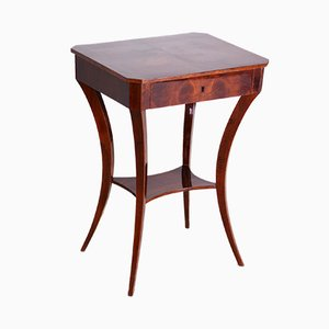 Small Brown Walnut Biedermeier Table, Germany, 1830s