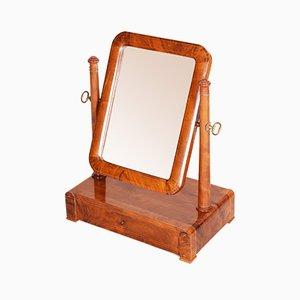 Early 19th Century Biedermeier Walnut Mirror for Dressing Table, 1830s