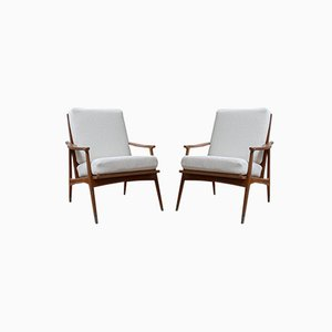 French White Boucle Armchairs, 1960s, Set of 2