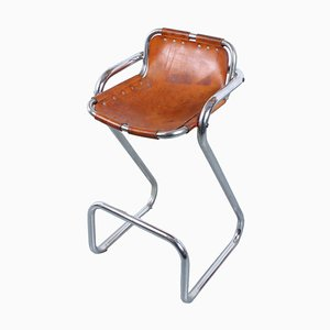 Les Arcs Leather and Chrome Bar Stool by Charlotte Perriand, 1960s