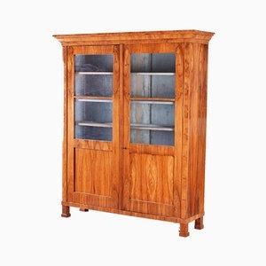 High Biedermeier Walnut Display Double Door Display Bookcase, Germany, 1830s