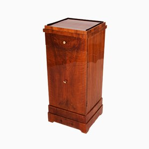 Czech Cubic Biedermeier Walnut Bedside Table, 1830s