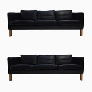 Scandinavian Black Leather Sofas from HJN Mobler, 1980s, Set of 2