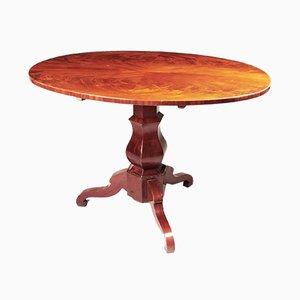 German Biedermeier Mahogany Folding Oval Dining Table, 1840s