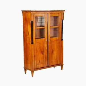 19th Century Biedermeier Walnut Display Double Door Display Bookcase, Austria
