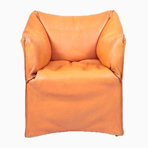 Armchair in Patinated Leather by Mario Bellini for Cassina, 1970s