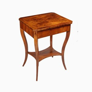 Small Brown Walnut Biedermeier Side Table, Austria, 1830s