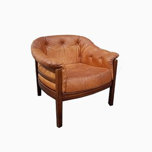 Scandinavian Leather Club Chair by Arne Norell, 1960s