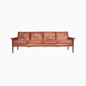 Dänisches Mid-Century Sofa aus patiniertem Leder & massivem Palisander, 1950er