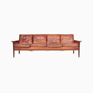 Mid-Century Danish Sofa in Patinated Leather and Solid Rosewood, 1950s