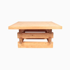 Mid-Century Scandinavian Low Table in Solid Patinated Pine by Roland Wilhelmsson
