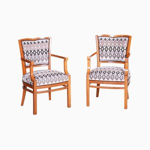 Walnut Art Deco Armchairs, 1920s, Set of 2
